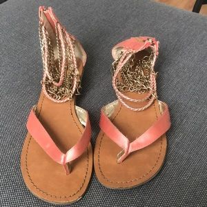 Pink and gold sandals